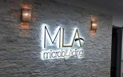 Illuminated Lobby Sign for Microblading Shop in Woodland Hills, CA | Microblading LA