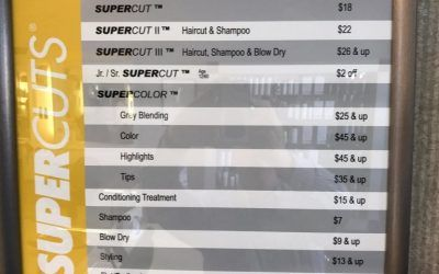 Matching Menu Boards for Hair Salon Franchise in Southern California | Supercuts