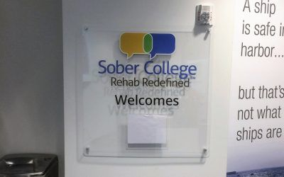 Interior Entrance Sign for Drug Addiction Treatment Center in Woodland Hills, CA | Sober College