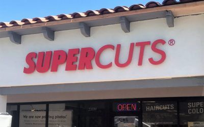Channel Letter Building Sign for Hair Salon in Calabasas, CA | Supercuts