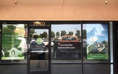 Storefront Window Signage for Advance Planning Center in Whittier, CA | Forest Lawn Memorial Park & Mortuaries
