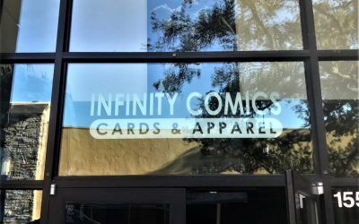 Storefront Window Graphics for Comic Book Store in Simi Valley | Infinity Comics Cards & Apparel