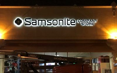 Channel Letter Sign LED Retrofit for Luggage Company in The Citadel Outlets   Samsonite