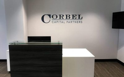 Reception Area Sign for Venture Capital & Private Equity in Los Angeles, CA | Corbel Capital Partners