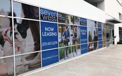 Perforated Window Graphics for New Apartment Complex in Downtown Los Angeles, CA | Seven West DTLA