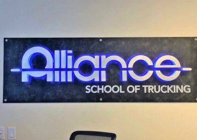 Custom Lobby Sign for Alliance School of Trucking in Chatsworth, CA