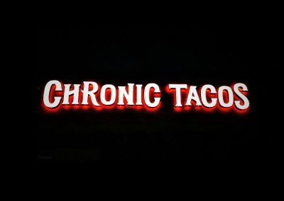 Illuminated Restaurant Sign for Chronic Tacos in Los Angeles, CA