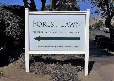 Post and Panel Sign for Forest Lawn in Glendale, CA