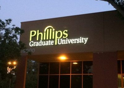 Illuminated Outdoor Sign for Phillips Graduate University in Chatsworth, CA