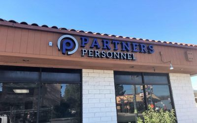 Storefront Sign for Partners Personnel in North Hollywood, CA