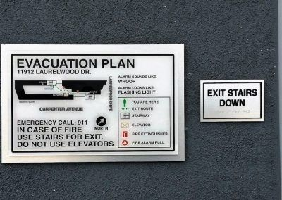 Evacuation Map and Exit Signs for Apartment Complex in Studio City, CA