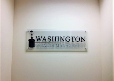 Professional Lobby Sign for Washington Wealth Management in Woodland Hills, CA