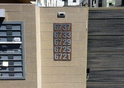 Address Number Directory Sign for Apartment Complex in Los Angeles, CA