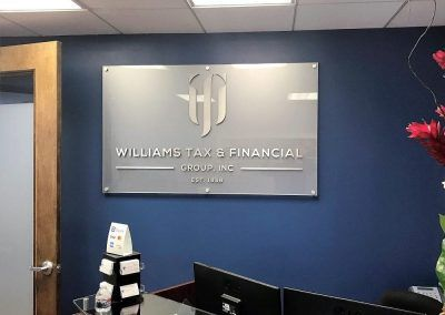 Office Reception Sign for Williams Tax in Los Angeles, CA