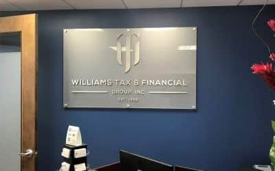 Office Lobby Sign for Williams Tax & Financial Group in Los Angeles, CA