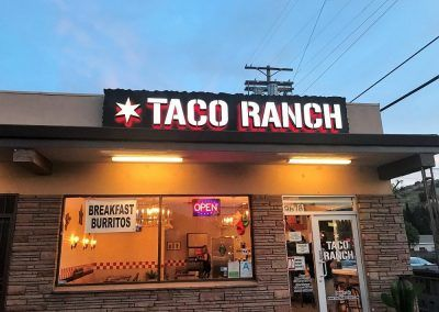 Illuminated Restaurant Signs for Taco Ranch in Shadow Hills, CA