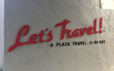 Custom Building Letters for Let's Travel in Santa Monica, CA