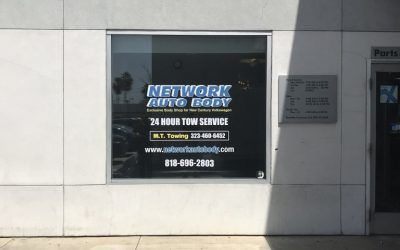 Digitally Printed Window Graphics for Body Shop in Glendale, CA