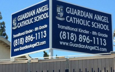 Outdoor Signage for Guardian Angel Catholic School in Pacoima, CA