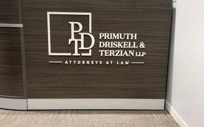 Desk Sign for Primuth, Driskell & Terzian, LLP in Pasadena, CA