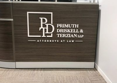 Law Firm Desk Sign for Primuth, Driskell & Terzian in Pasadena, CA