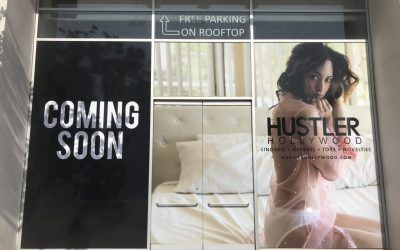 Exterior Graphics for Hustler Hollywood's New Location in West Hollywood, CA