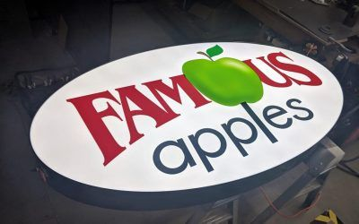 Outdoor Mall Sign for Famous Apples in Northridge, CA