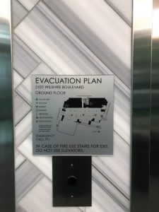 Elevator Evacuation Sign for Mixed Used Building in Los Angeles, CA