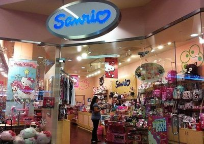 Hanging Mall Sign LED Refurbishment for Sanrio in the Topanga Westfield
