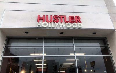 Signage for Hustler Hollywood's New Location in West Hollywood, CA