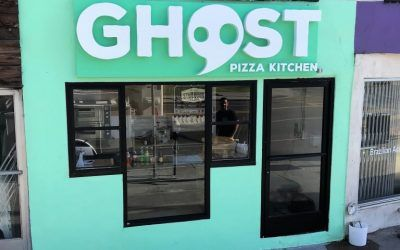 Channel Letter Sign for Ghost Pizza Kitchen in Los Angeles, CA
