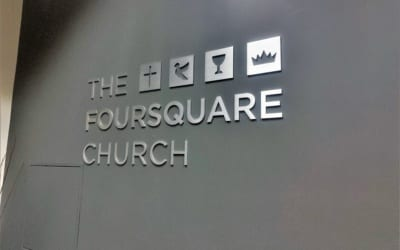 Reception Area and Hallway Sign for Foursquare Church in Los Angeles, CA
