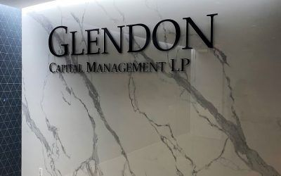 Lobby Sign for Glendon Capital in Los Angeles, CA