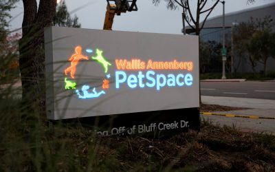 New Monument Sign for Wallis Annenberg Petspace in Playa Vista, CA